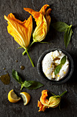Zucchini flower with mozzarella and Basil
