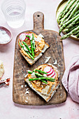 Open sandwich with paprica hummus and asparagus