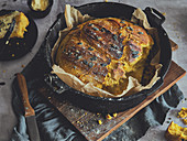 Pumpkin bread made in a Dutch oven
