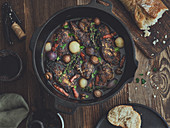 Coq au vin made in a Dutch oven