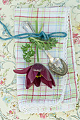 Pasque Flower as a napkin decoration on a silver spoon