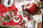 Baked Christmas ham with roasted beetroot salad and pickles