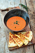 Tomato soup with quesadilla