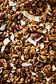 Granola with figs, almonds, coconut chips and pumpkin seeds
