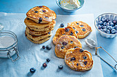 Kefir and blueberry panckes with lemon greek yoghurt and icing sugar