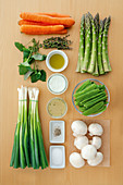 Ingredients for vegetable ragout in lemon cream