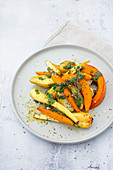 Oven-roasted vegetables with walnut pesto