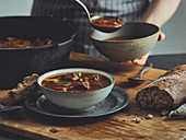 Dutch oven goulash soup