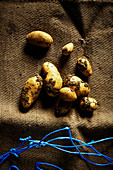 Fresh potatoes on a sack