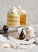White velvet cake with mango cream