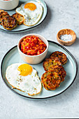 Fried bread dumplings with peperonata and fried egg