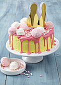 A princess cake decorated with marshmallows