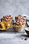 Gluten free spiced pumpkin muffins with pecan streusel and maple yogurt glaze