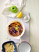 Colourful coleslaw with a vegan cashew mayonnaise