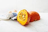 A sliced Hokkaido pumpkin