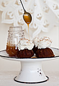 Gingerbread cakes cinnamon, and caramel sauce