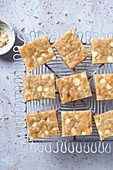 Gluten-free blondie with macadamia and wihte chocolate