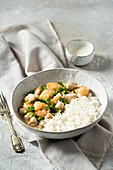 Turkey Fricassee with shrimps and peas