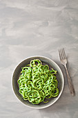 Courgette noodles with vegan rocket and cashew nut pesto
