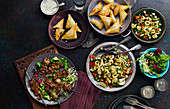 Chilli Spiced Squid, Beef Satay Skewers and Spicy Turkey Samosas