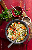 Pilau rice with carrots, spices and coriander (India)