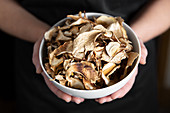 Hand picked dried wild porcini mushroom (boletus edulis)