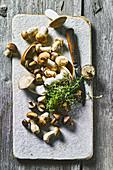 Fresh mushrooms on a board