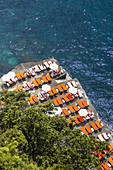 Private beach, Amalfi Coast, Campania, Italy