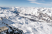 Switzerland, Engadin, Sankt Moritz: View from Corvatsch summit (3303m) to Lake Sils