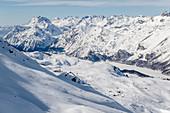 Switzerland, Engadin, Sankt Moritz: View from Corvatsch to Lake Sils