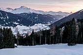 Switzerland, Grisons, Davos: View from Hotel Schatzalp to Davos