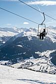 Switzerland, Grisons, Davos: View from Skiresort Schatzalp-Strela to Davos