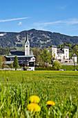 Church and castle at Goldegg am See, Pongau, Salzburger Land, Austria