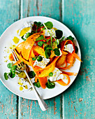 Carrot with lamb lettuce, feta, orange, pepper and olive oil