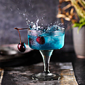 Cocktail Blue Curacao with cherry