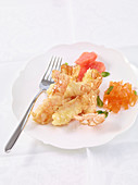 Prawn tempura with grapefruit jelly