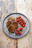 Parsnip fritters with cherry tomatoes