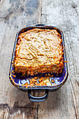 Vegan lasagne with courgettes and peas (low carb)