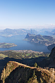 A view from Mount Pilatus (2128m) onto Vierwaldstättersee, Lucerne, Switzerland