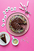Crazy cake (chocolate cake with colourful sprinkles)