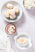 Donuts with hot marshmallow chocolate