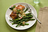 Miso salmon with kimchi and green asparagus