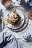 Banana pancakes with hazelnuts