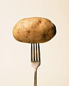 Eine Kartoffel aufgespießt auf einer Gabel