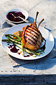 Duroc pork cutlets with grilled green asparagus