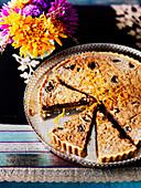 Prune and walnut tart