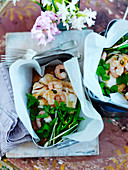 Fish and seafood salad with herbs