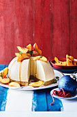 Peach and tahini cheesecake