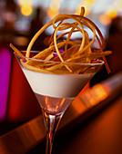 Orange cream in a stemmed glass