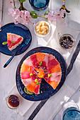 Sushi cake with tuna and salmon